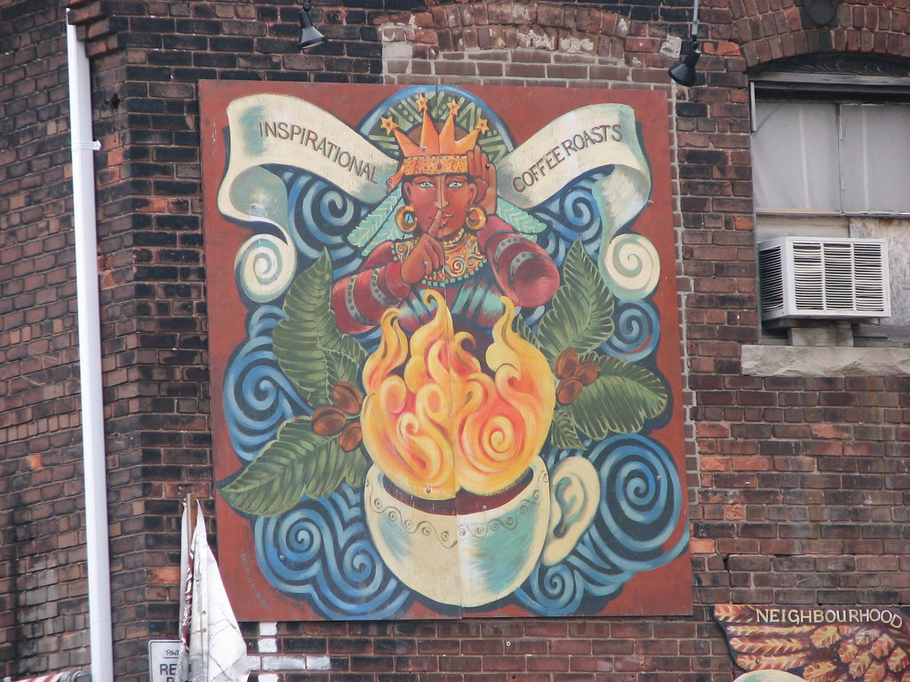 Mural showing thriving art scene in Liberty Village, Toronto.