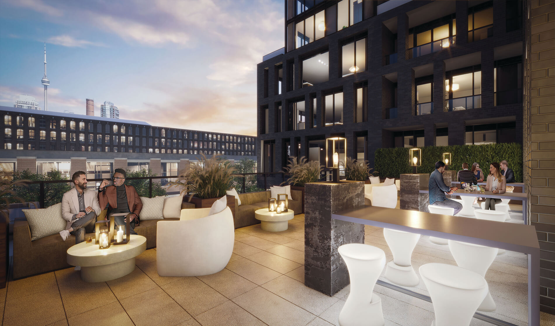 Another amenity pic of XO Condos showing rooftop terrace and CN Tower.