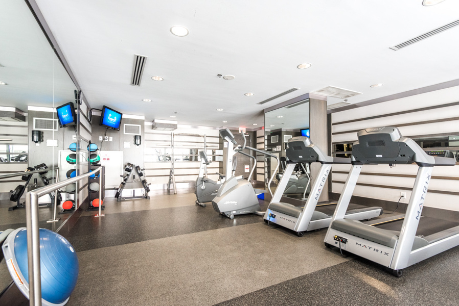 Gym and exercise equipment at Encore Condos.