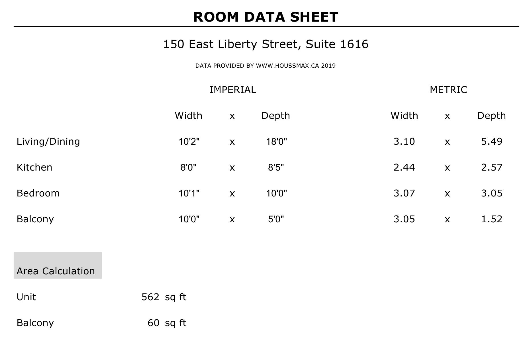 Measurements for 150 East Liberty St Unit 1616.
