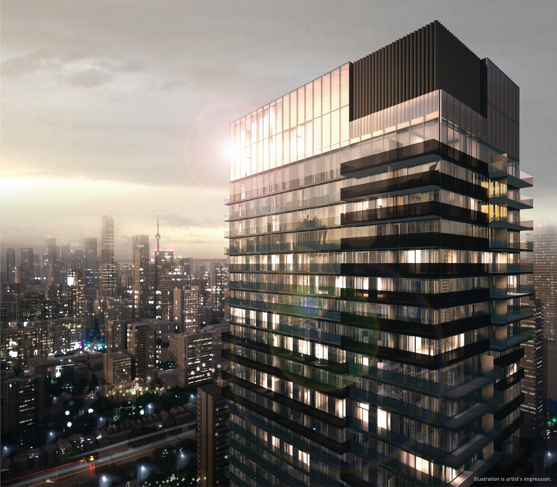 Concept art for 55C Condos on 55 Charles St E Toronto