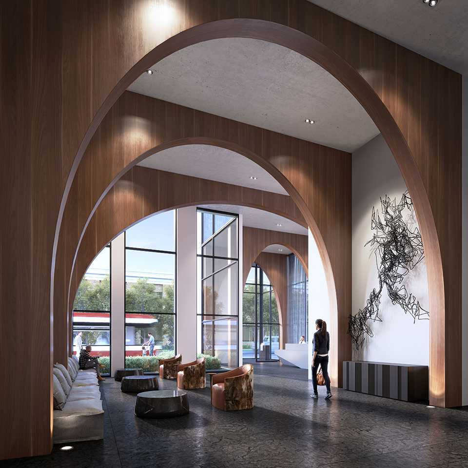 3D photo of XO Condos lobby and its wooden arches.
