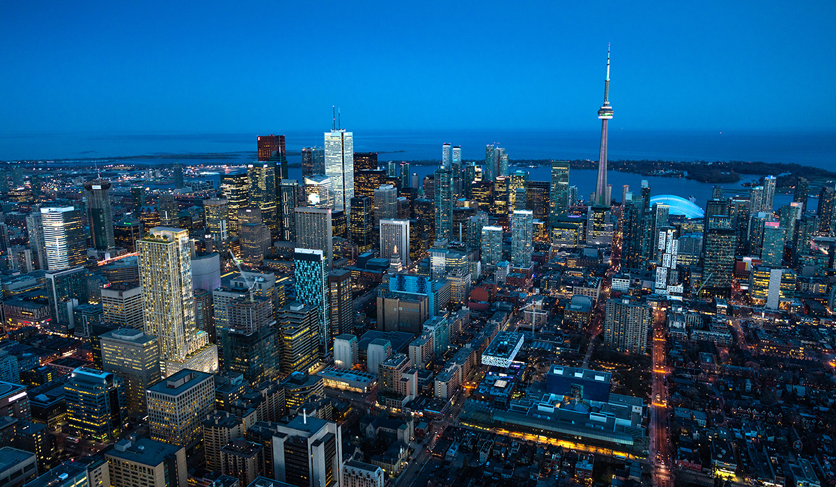 Toronto's Financial District at night.
