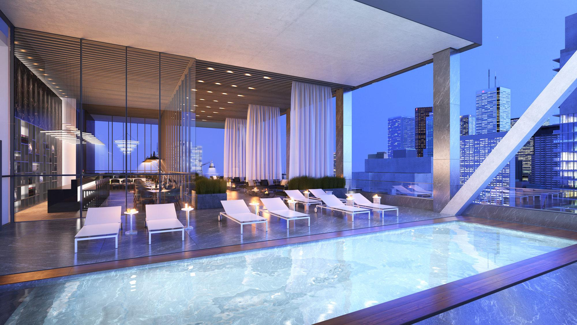 Rooftop swimming pool and lounge at United Condos on 481 University Avenue, Toronto.