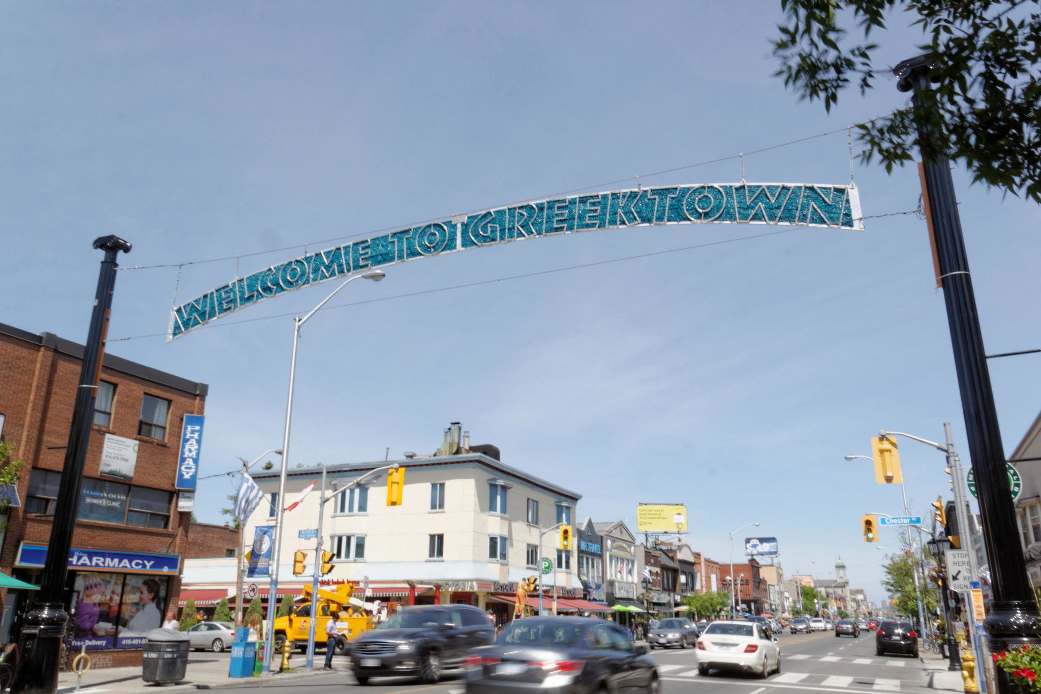 Welcome banner in Greektown Toronto, also called The Danforth.