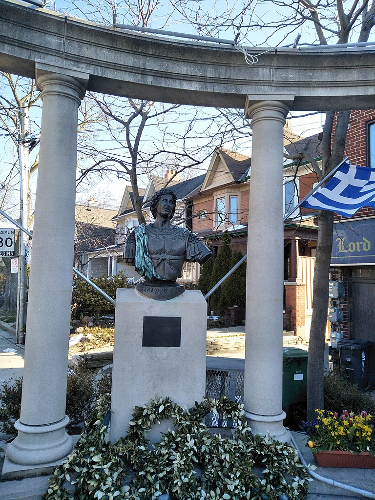 Bust of Alexander the Great in Greektown Toronto.