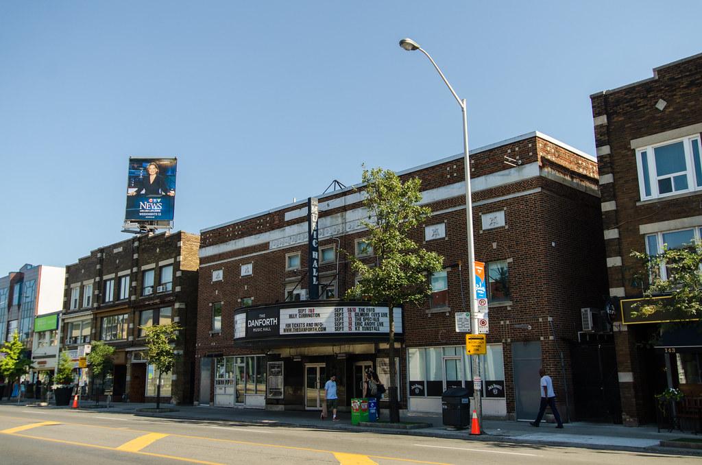 Danforth Music Hall exterior in Greektown Toronto.
