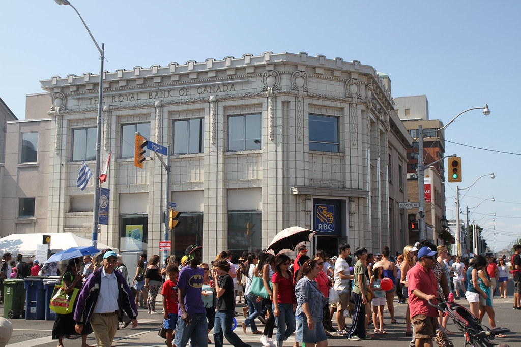 Taste of Danforth Festival in Greektown Toronto with people on streets during daytime.