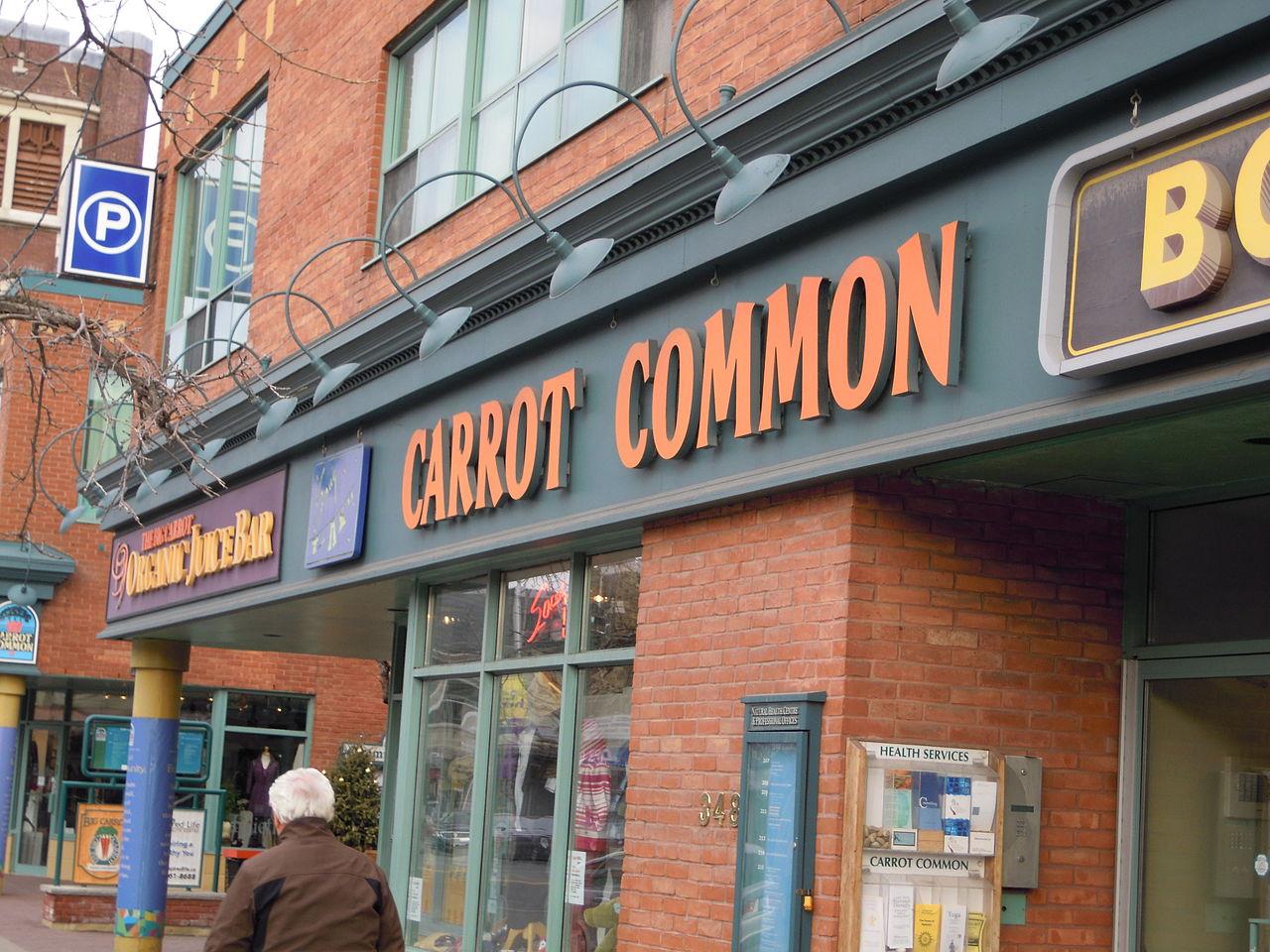 Carrot Common storefront sign on 384 Danforth Avenue, Greektown Toronto.