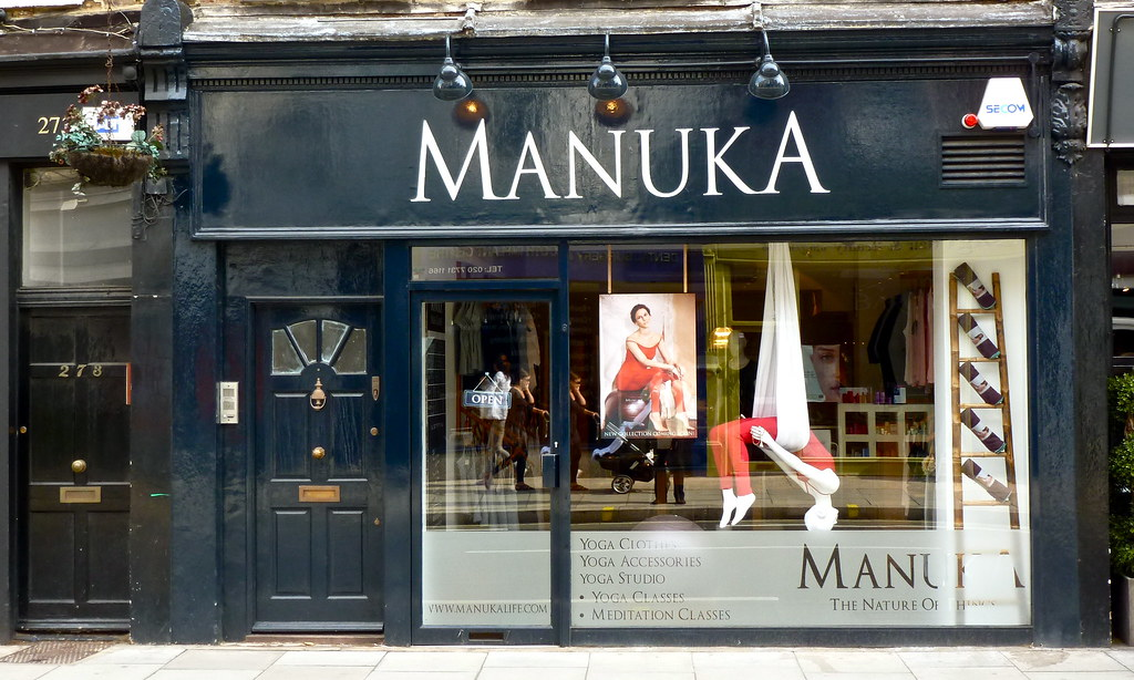 Manuka storefront display with Yoga clothes.