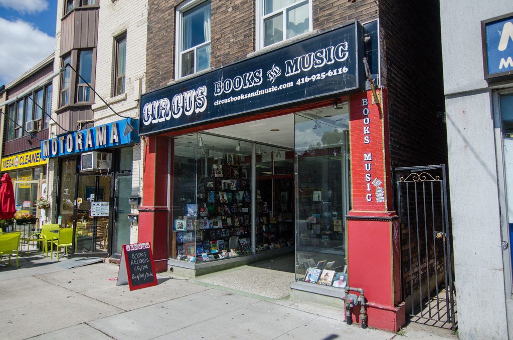 Circus books and music storefront in The Danforth, Greektown Toronto.