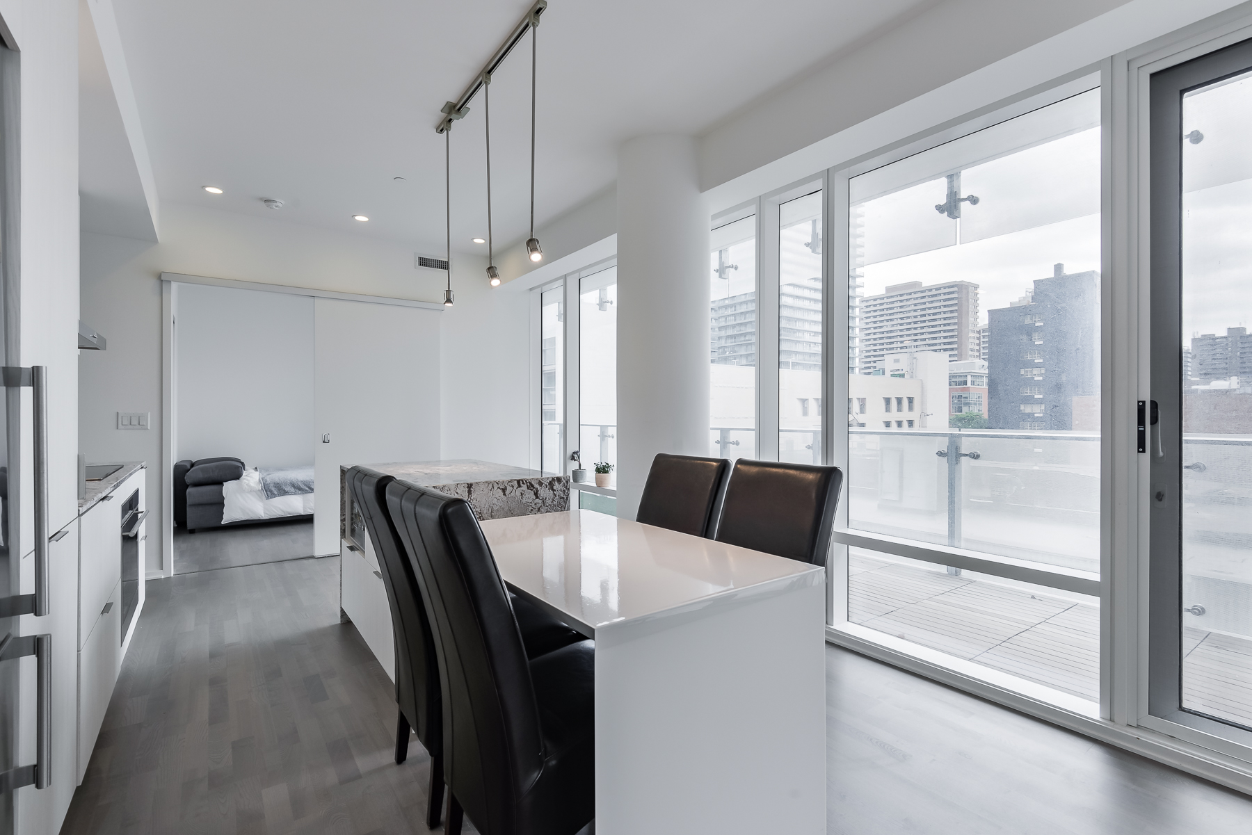 Breakfast table and view - 1 Bloor St E Unit 310 Toronto.