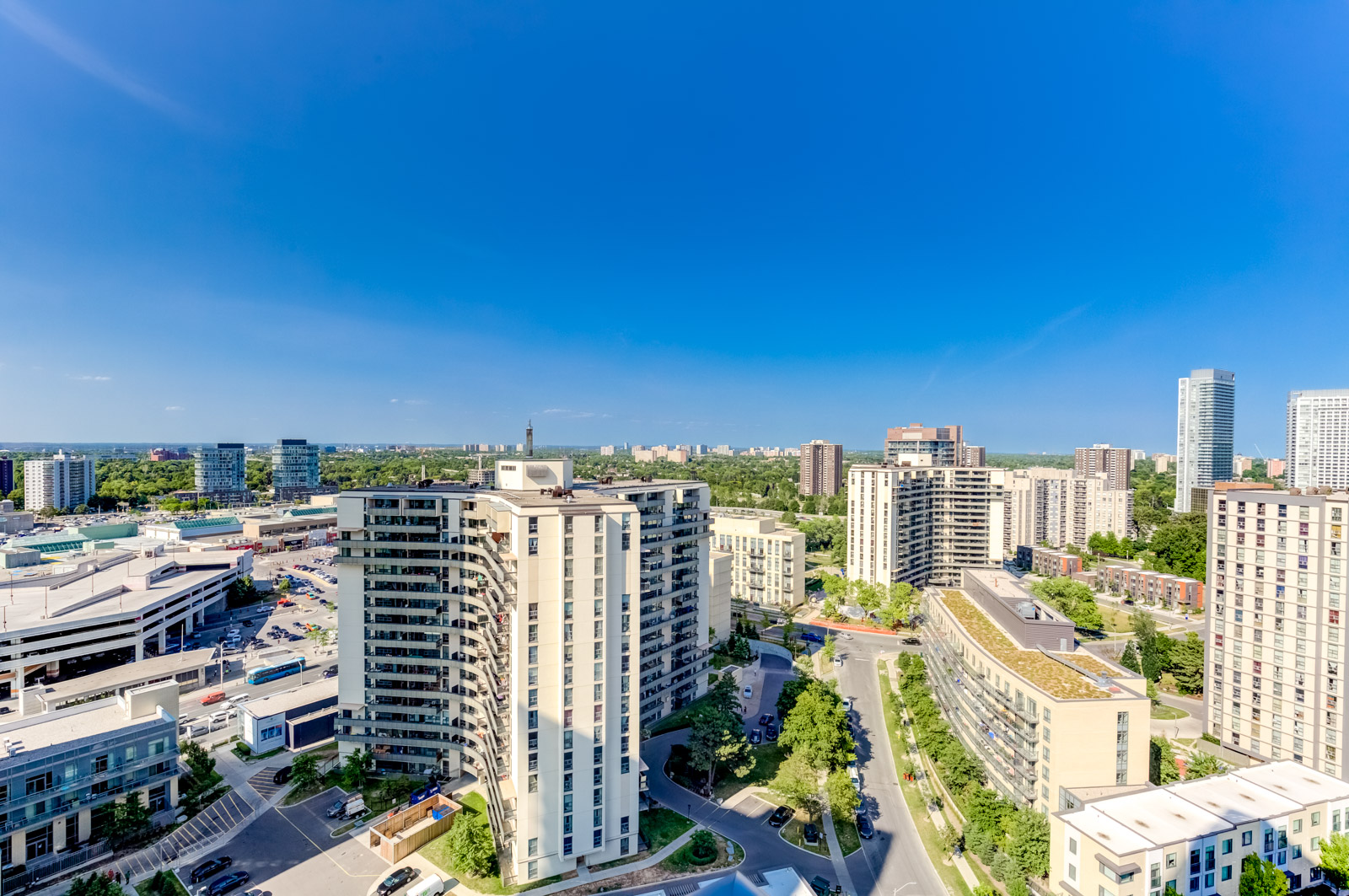 Ariel view of North York, Toronto from balcony of 62 Forest Manor Rd Unit 1803.