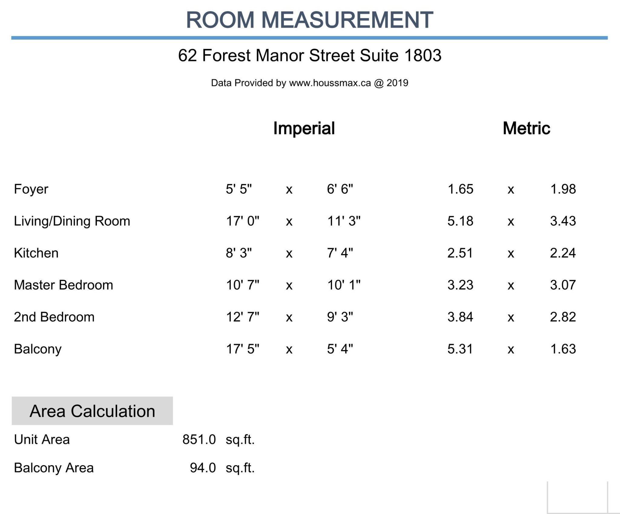 Measurements for 62 Forest Manor Rd Unit 1803, Toronto.