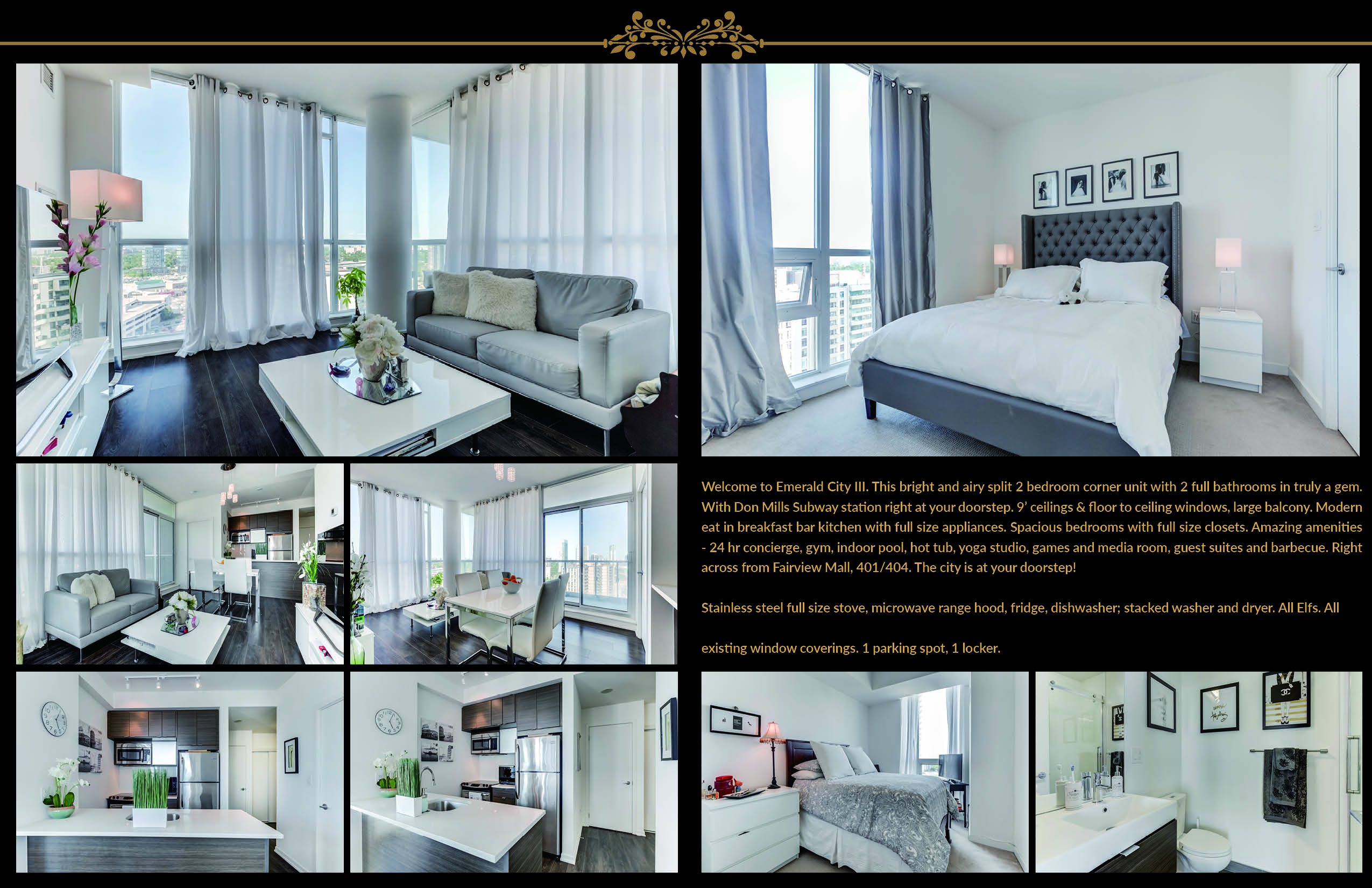 Brochure with multiple photos of 62 Forest Manor Unit 1803 in varying sizes.