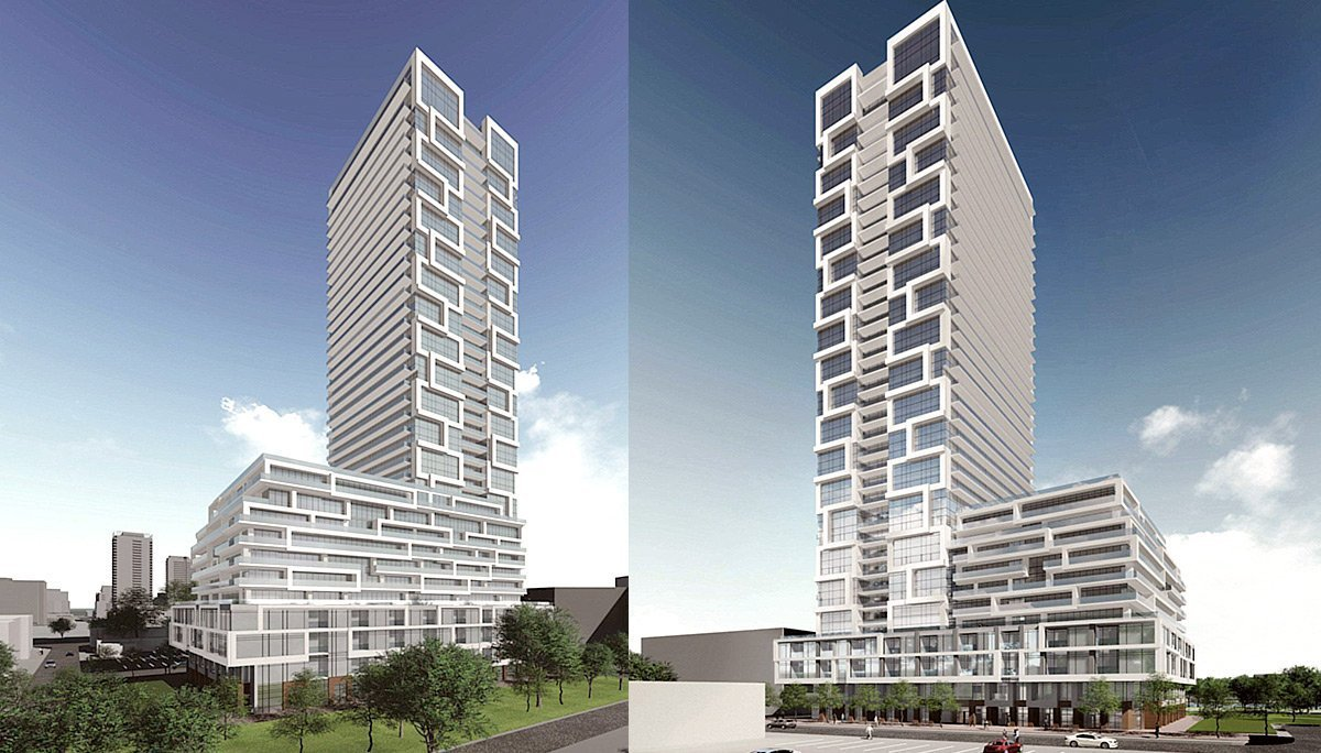 A 3D render of River and Fifth Condos on 5 Deffries St, Toronto showing building from 2 angles.