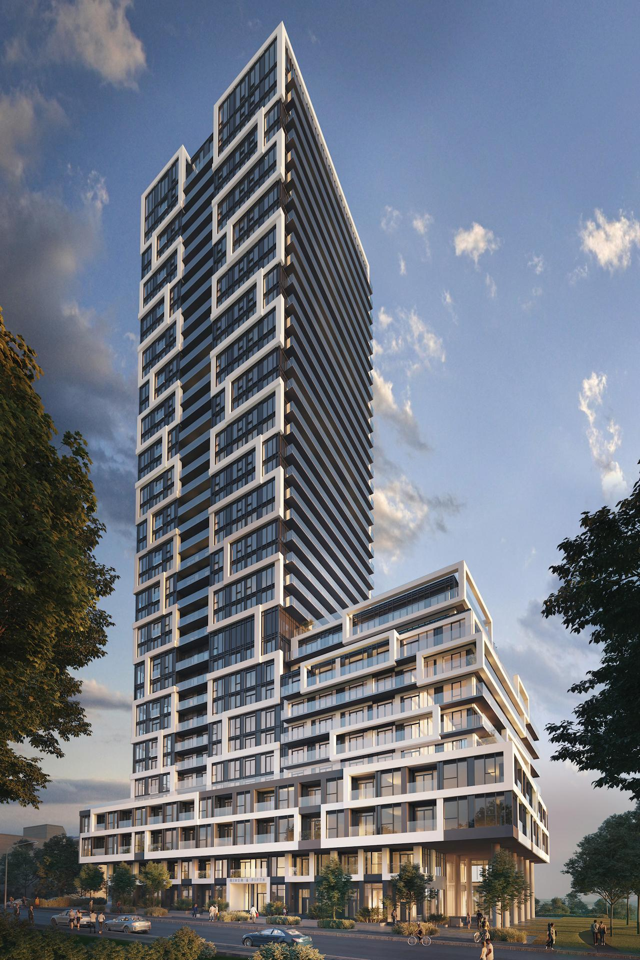 Another 3D image of River and Fifth Condos on 5 Defries St showing dark glass and white lines from distance.