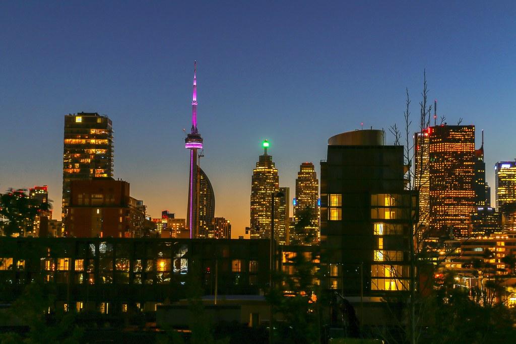 Corktown Toronto at night.