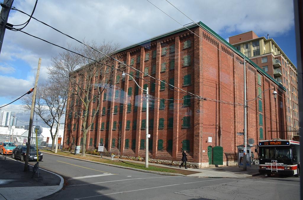 Red-brick warehouse exterior in Corktown, Toronto.