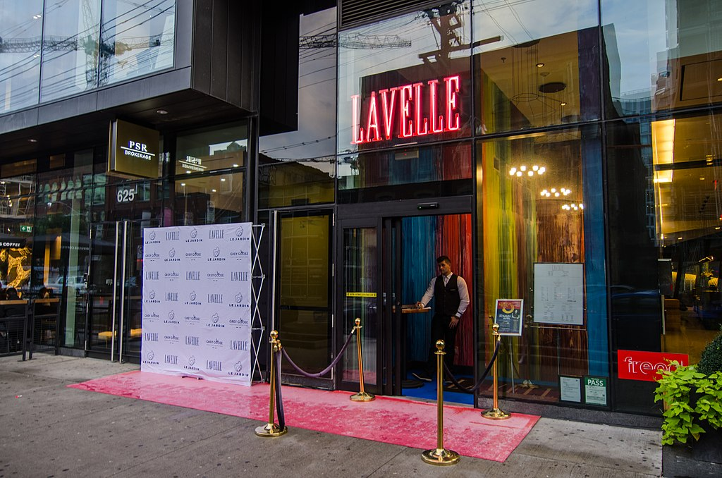 Front entrance of Lavelle bar and lounge in King West, Toronto.