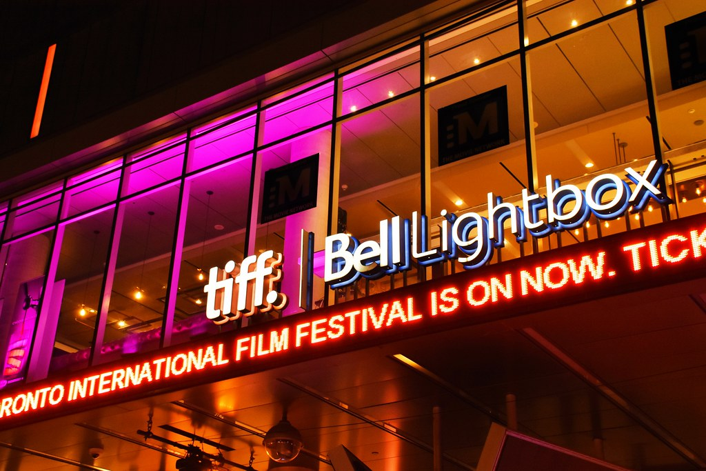 Colourful exterior of TIFF Bell Lightbox in Toronto's Entertainment District.