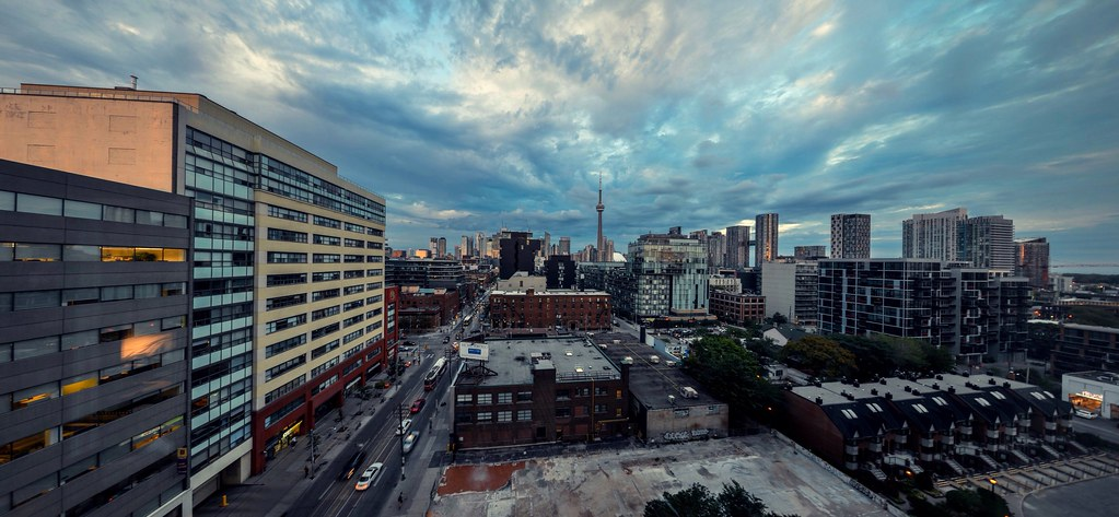 View of King West Toronto from rooftop of building.