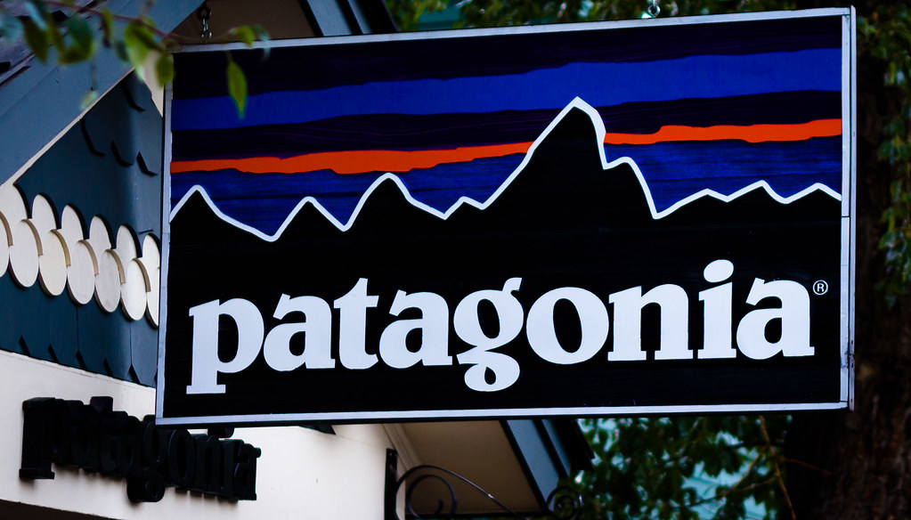 blue and black Patagonia store sign.