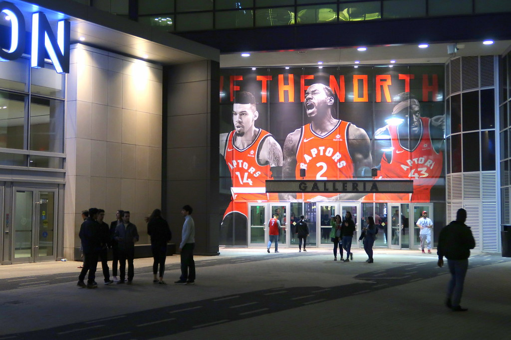 Toronto Raptors poster outside Scotiabank Arena.