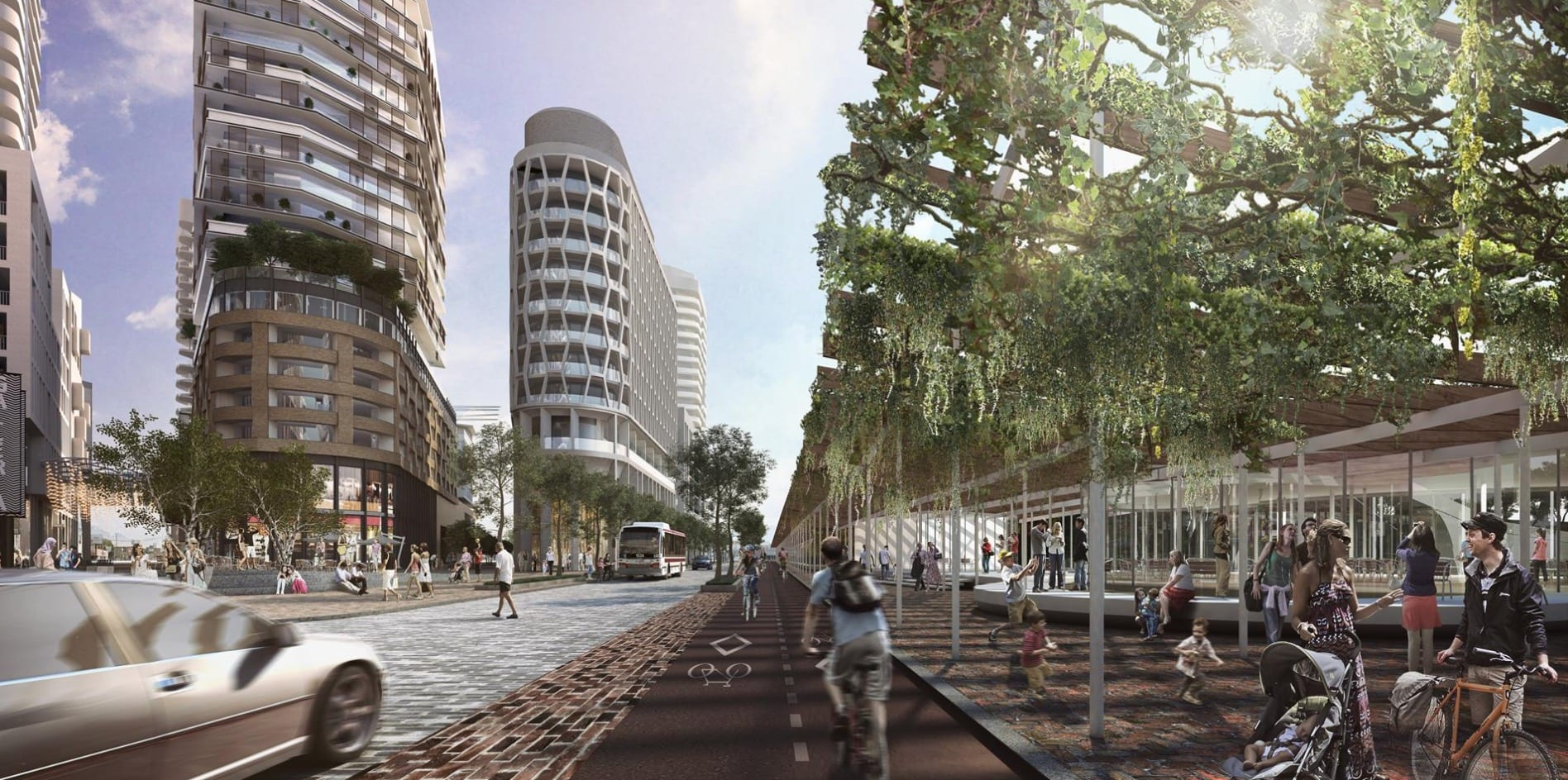 Dufferin and Dupont Street render with people, cyclists, buses and cars.