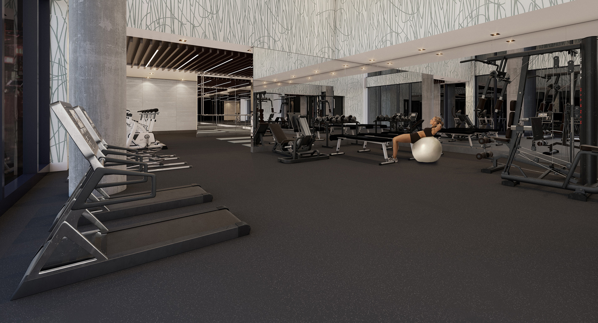 Concept art of Kingly Residences gym with weights and woman in black work-out clothes lying on exercise ball.