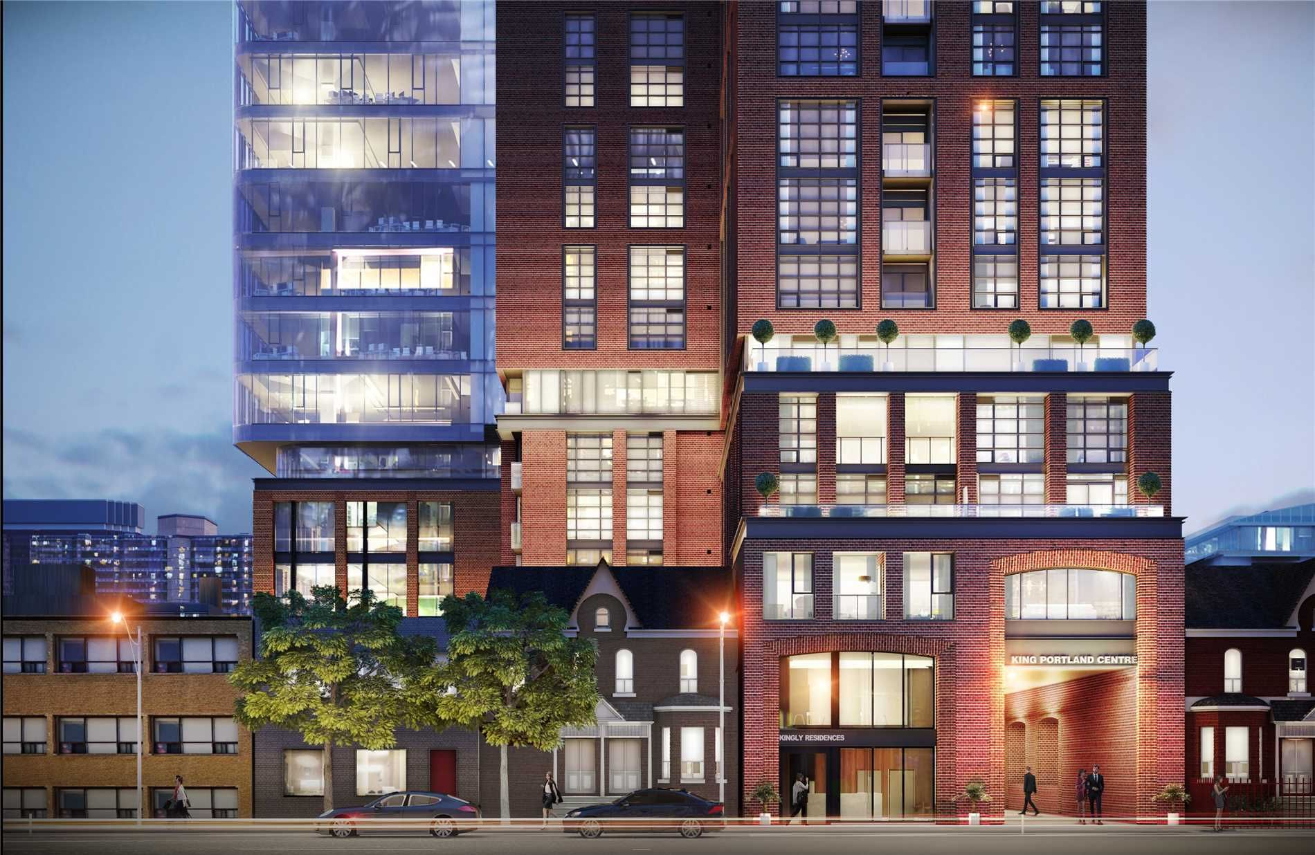 Concept art for Kingly Residences and King Portland Centre showing red-brick building, blue glass and streets.