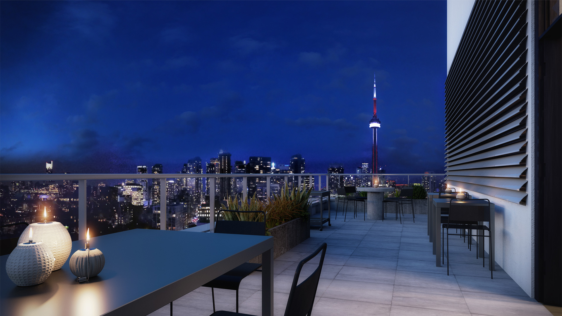 Concept art of Kingly Residences rooftop deck at night with tablets, candles and CN Tower lights in background.