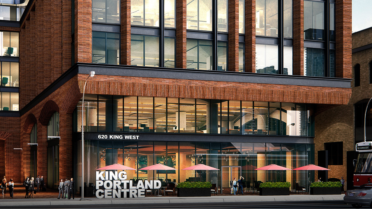 King Portland Centre concept art showing building's red-brick facade, windows, streets and pedestrians.