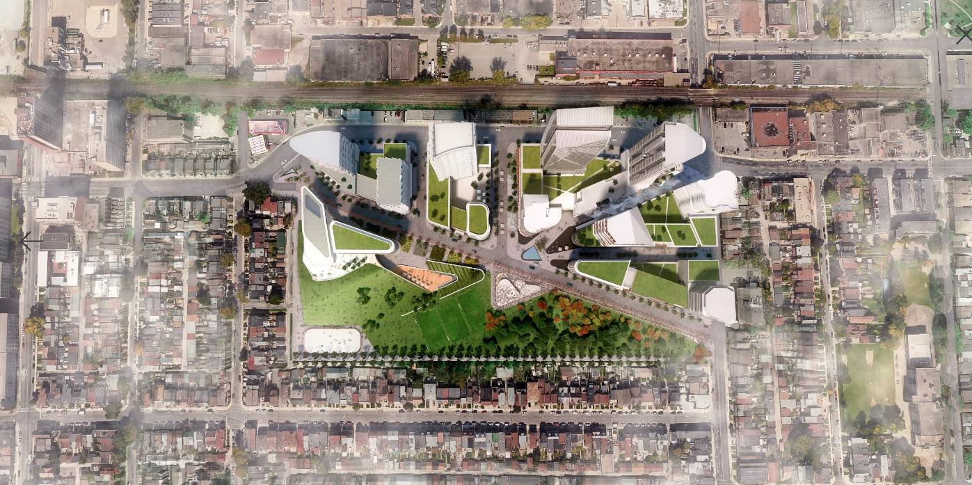 3D aerial render of Galleria On The Park master-planned community showing buildings and parks.