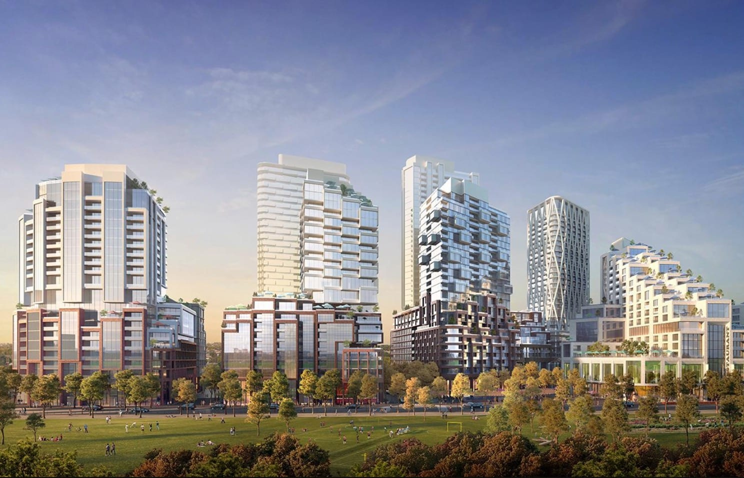 3D render of Galleria On The Park with several boxy, geometric condos and trees.