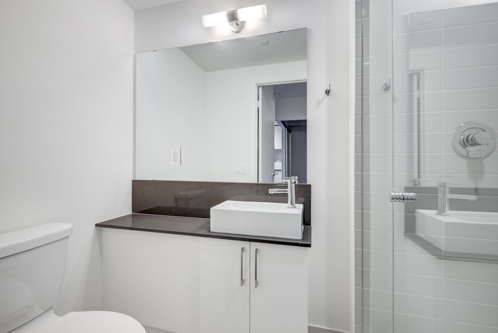 Second bathroom with standing glass shower enclosure, large vanity and mirror.