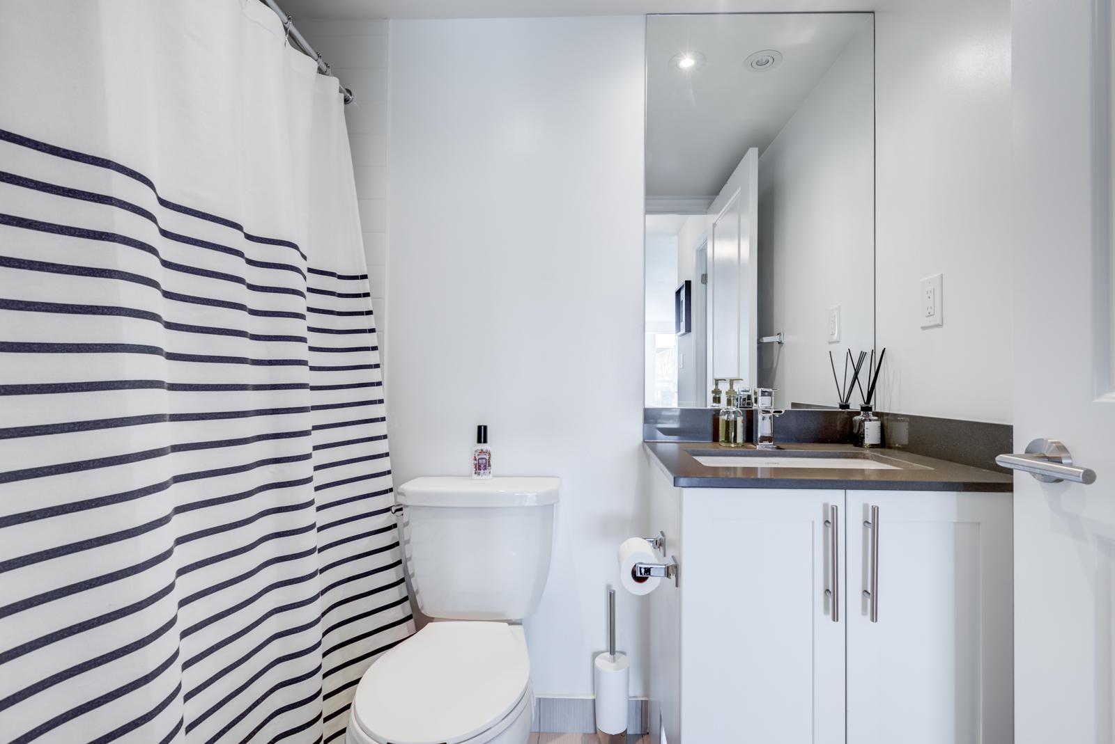 Bathroom in monochromes, striped shower curtain and sleek vanity.