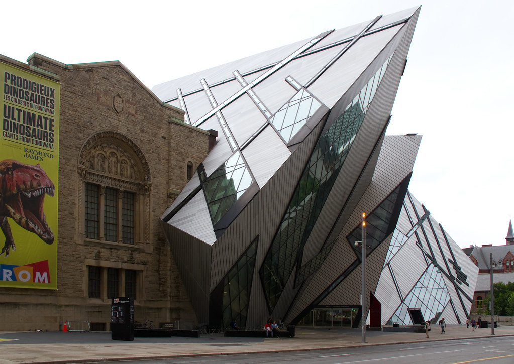 Gray pyramid exterior of Royal Ontario Museum (ROM) in Yorkville, Toronto.