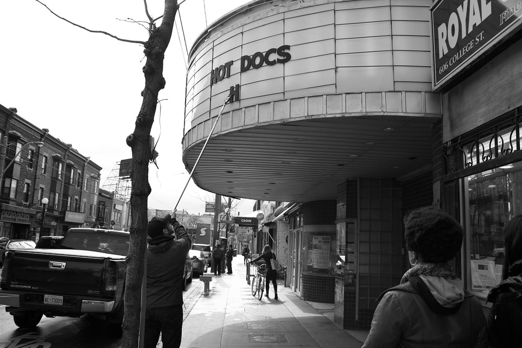 Black and white photo of Hot Docs theatre marquee on Bloor West in The Annex.