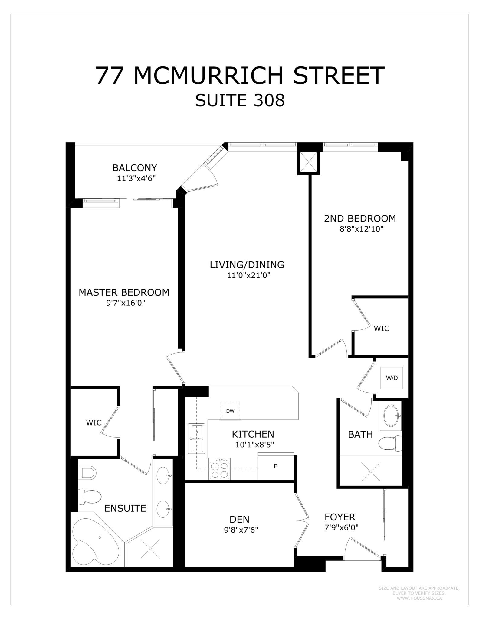 Condo floor plans for 77 McMurrich St Unit 308 in Yorkville.