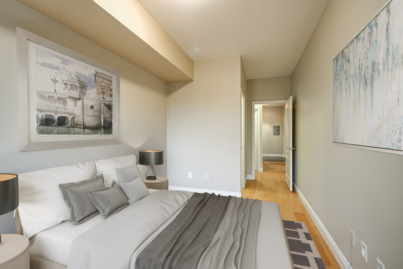 Render of second bedroom with large bed, pillows and wall art at 77 McMurrich St Unit 308 in Yorkville.