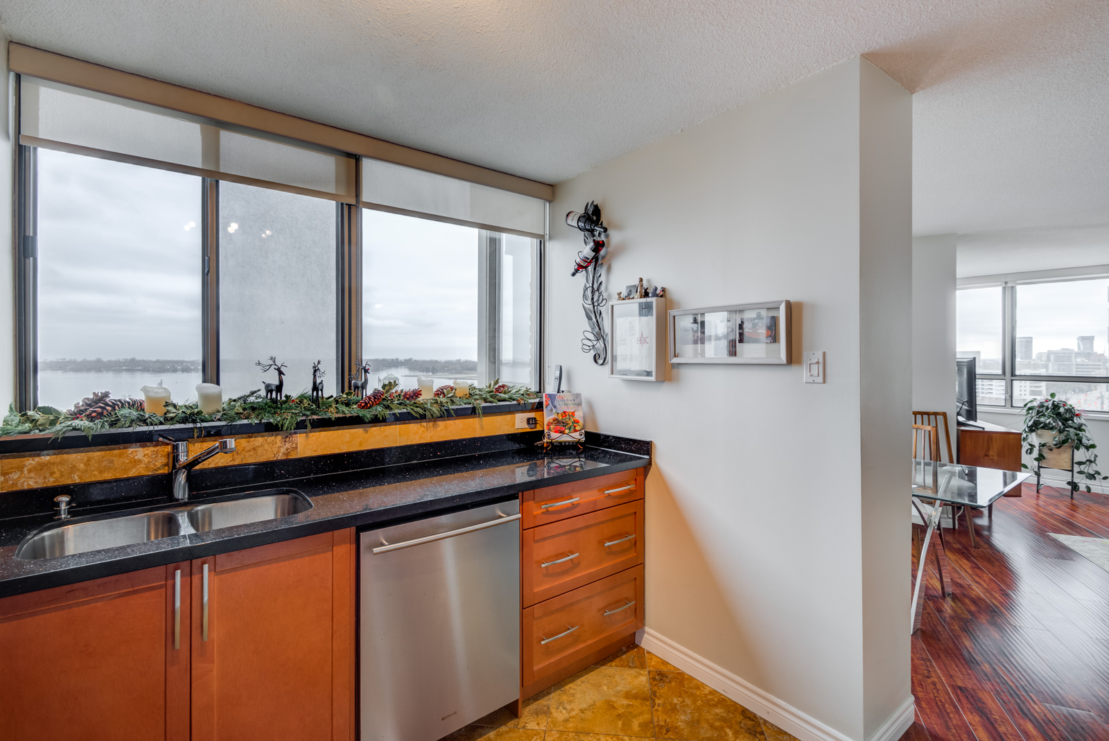 Black granite kitchen counter-top with view of Toronto Waterfront.
