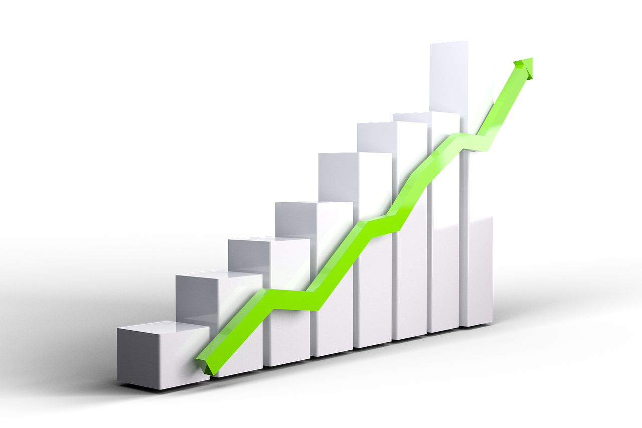 3D bar graph with silver bars and green arrow, indicating rising prices in November 2019 GTA Housing Market Report.
