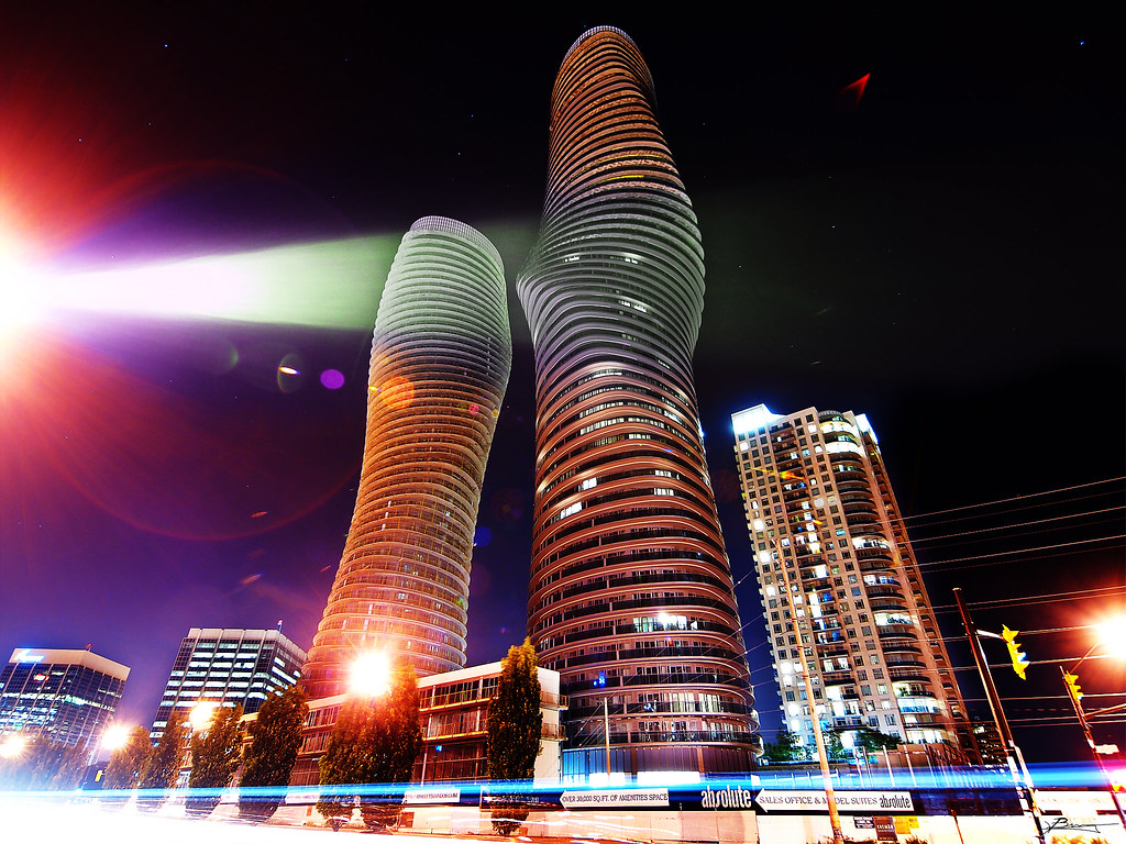 Absolute Towers in Mississauga at night showing November 2019 GTA real estate market.