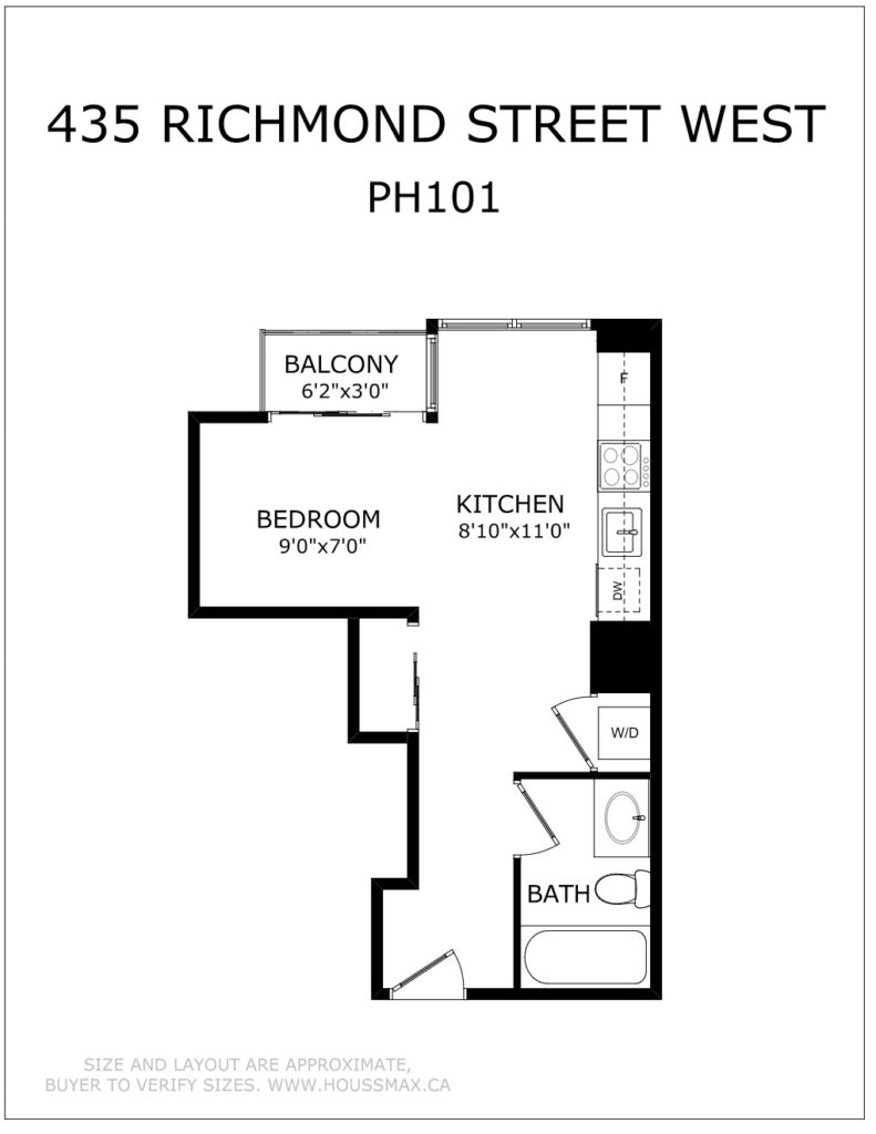 Black and white floor plans for 435 Richmond St W PH 101.
