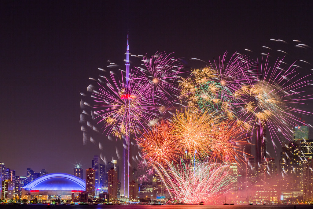 Colourful fireworks along skyline; 2020 toronto housing market