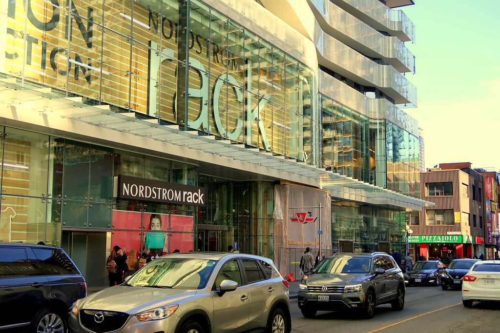 Nordstrom Rack facade in One Bloor Condos in Toronto.