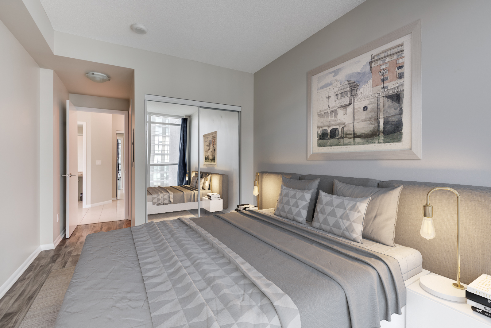 3D render of 215 Fort York Blvd master bedroom with large bed and headboard.