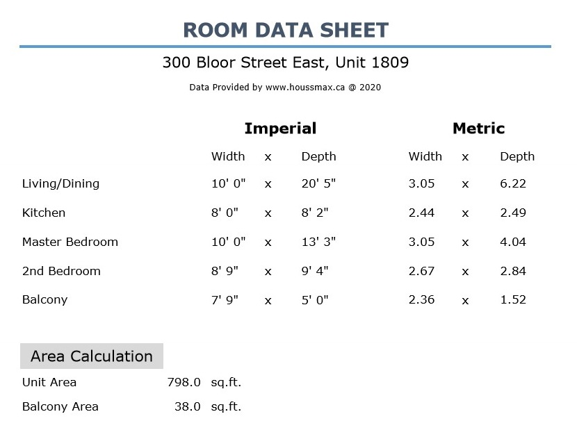 Interior and exterior room measurements for 300 Bloor St E Unit 1809.
