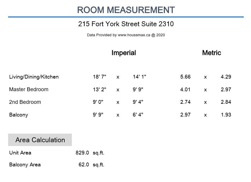 Room measurements for 215 Fort York Blvd Unit 2310.